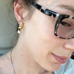 Vintage Jewelry - Golden Ribbon Squiggle Stud Earrings Birthday Girl